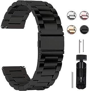 Fullmosa Bracelet 22mm SamsungGearS3Classic/Frontier Bracelet 22mm Noir Bracelets de Montre en Acier Inoxydable pour Ho...