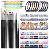 Nail Art Brush, Teenitor 3D Nail Art Decorations Kit with Nail Pen Designer Dotting Tools Colors Holographic Butterfly Nail Glitter Foil Flakes Nail Tape Strips and Multi-Color Nails Rhinestones