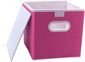 uxcell® Cloth Storage Bins Cubes Baskets Containers with Dual Plastic Handles, Foldable Storage Bin Drawers Organizers wit...