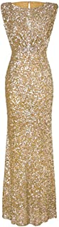 Womens Fancy Bling Sequins Sleeveless O-Neck Backless Glitter Formal Evening Party Maxi Mermaid Dress