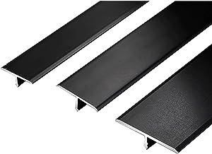 Drempelovergangsstrip Drempelstrip tapijt profiel Cover Transition Trim Laminate 2pack 1.5m T Shape aluminium deur zwarte ...