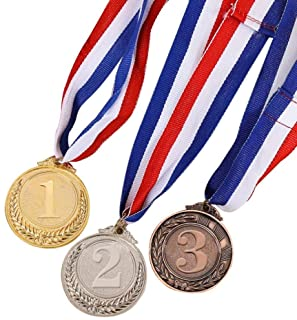3PCS Metal Award Medals with Neck Ribbon Gold Silver Bronze Olympic Style for Sports Academics or Any Competition Diameter...