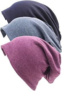 REWANGOING 3 Pack Unisex Soft Comfy Cotton Beanie Sleep and Chemo Cap Hats for Hairloss, Cancer