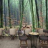 Msrahves Fotomurales 3D Naturaleza selva alces paisaje Fotomurales 3D Pintura Óleo Fotográfico Mural Papel Pintado Fotomurales Salón Dormitorio Decoración de Paredes Moderna Wallpaper