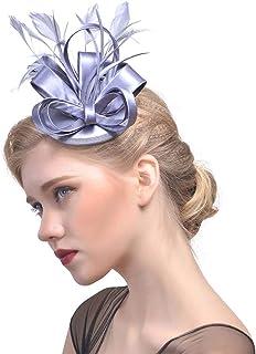 Zoestar Tea Party Fascinators Hair Clip with Headband Feather Fascinator Top Hatfor Women (Silver Gray)