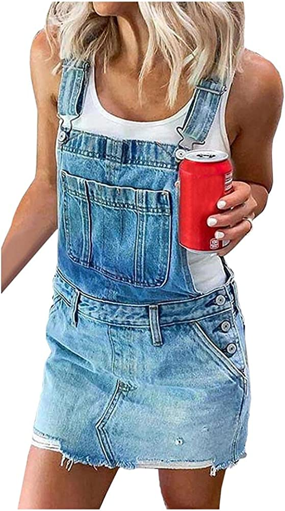 Spring new work Ladyful Women's Our shop OFFers the best service Casual Summer Bib Jean with Denim Overalls Dress
