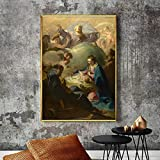 KWzEQ Cartel de Arte en la Pared en el Lienzo con el Nacimiento del Padre Dios Utilizado para la decoración de la Sala de Estar,Pintura sin Marco,60x85cm