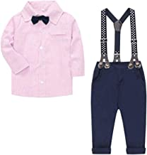 SANGTREE Baby & Little Boy Tuxedo Outfit, Plaids Shirt + Suspender Pants