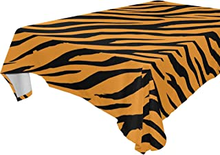 FCZ Rectangle Table Cover Tiger Stripes Background Black Orange 60 x 108-inch Restaurant Banquet Decoration Oblong Round Coffee Heavy Weight Polyester Table Cloth