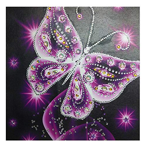 Diamond DIY 5D Painting,veyikdg 30x30cm Butterfly Shaped Pattern Partial Drill Cross Stitch Kits Home Wall Bed Living Room Crystal Adult Kid Rhinestone Picture Serial Embroidery Art Craft Gift(Purple)