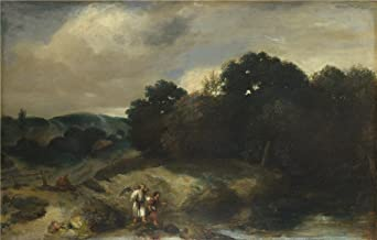 Polyster Canvas ,the High Resolution Art Decorative Prints On Canvas Of Oil Painting 'Jan Lievens A Landscape With Tobias And The Angel ', 12 X 19 Inch / 30 X 48 Cm Is Best For Gift For Girl Friend And Boy Friend And Home Artwork And Gifts