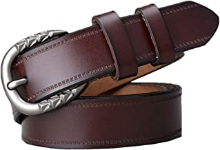 Fashion Belt Womens Skinny Leather Belt Solid Color Pin Buckle Simple Fashion Belts Durable (Color : Brown, Size : Free size)