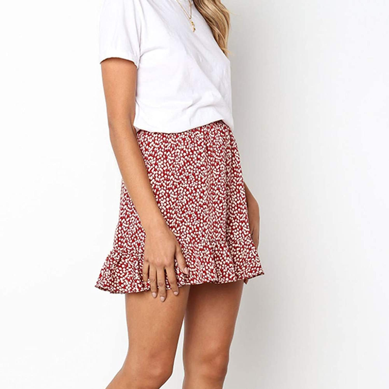 DAHDXD Summer Casual Print Ruffles Empire Mini Skirts Women Retro High Waist Evening Party Short Print Above Knee