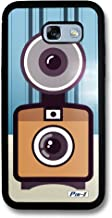 Pin-1 Snap-on Hard Case with Black TPU Bumper for [Samsung Galaxy A5 (2017) / A520] - Art Drawing Retro Instant Camera A 2612