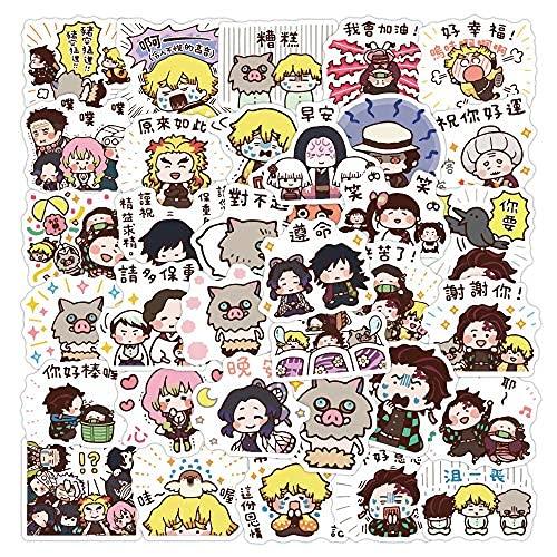 XXCKA 40 Uds Demon Slayer Pegatina Dibujos Animados japoneses Anime Taza de Agua Material de la Cuenta de la Mano decoración de la Caja del teléfono Pegatina de la Cuenta de la Mano