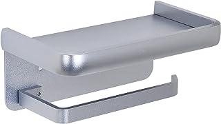 Porte Papier Toilette Mural avec Tablette sans Percage Support Papier Toilette Adhesif Aluminium Porte Rouleau de Papier p...