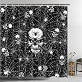 Pknoclan Halloween Spider Web and Skull Shower Curtain, Gothic Shower Curtain with 12 Hooks, Waterproof Bathroom Shower Curtain for Halloween Decoration, Black