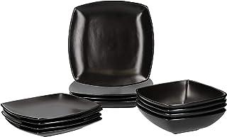 Creative Tops Service de table Raven 12 pièces en Céramique, de forme Carré, pour 4 personnes - Noir