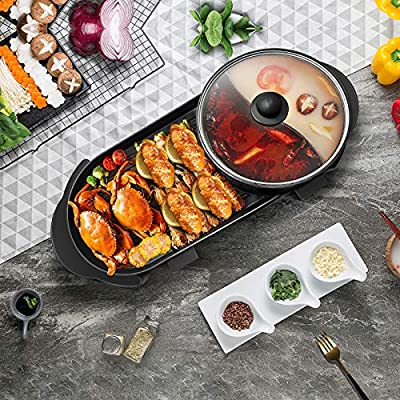 H HUKOER 2 in 1 Electric Grill Indoor Hot Pot Multifunctional,Capacity for 2-12 People,for Household Dinner and Entertainment Party.Indoor Teppanyaki Grill/Shabu Shabu Pot with Divider