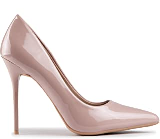 Baldi Women's Barbara Beige/Black/Yellow high Heel mid Dress Shoes High Heel Classy Summer Shoes, Pointy Toe Comfy for Office and Outdoor