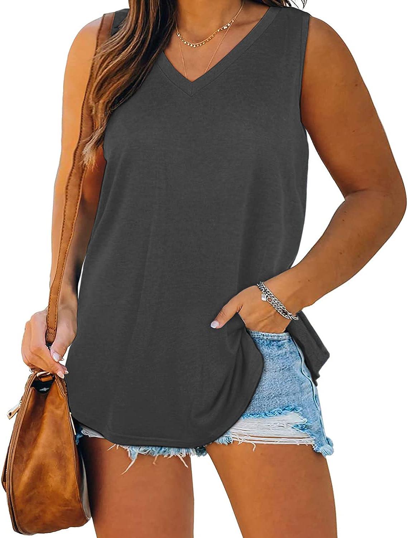 Women Plus Size Tank Tops Summer Sleeveless Blouses Novelty Tunics T-Shirts Sweat Vest Camis