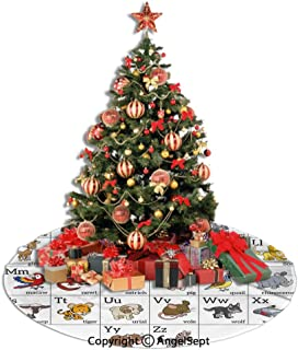 Christmas Tree Skirt,Educational,Alphabet Learning Chart with Cartoon Animals Names Letters Upper and Lowercase Decorative,Multicolor,36inches,Xmas Holiday Decorations Tree Ornaments Indoor Outdoor