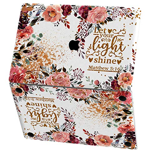 Mertak Vinyl Skin for Apple MacBook Air 13 inch Mac Pro 16 15 Retina 12 11 2020 2019 2018 2017 Matthew 5:16 Biblical Quote Gold Leaf Print Cover Wrap Christian Floral Scripture Trackpad Keyboard