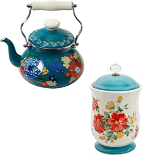 The Pioneer Woman Dazzling Dahlias 2-Quart Tea Kettle bundle with The Pioneer Woman Vintage Floral 10.3-Inch Canister with Acrylic Knob