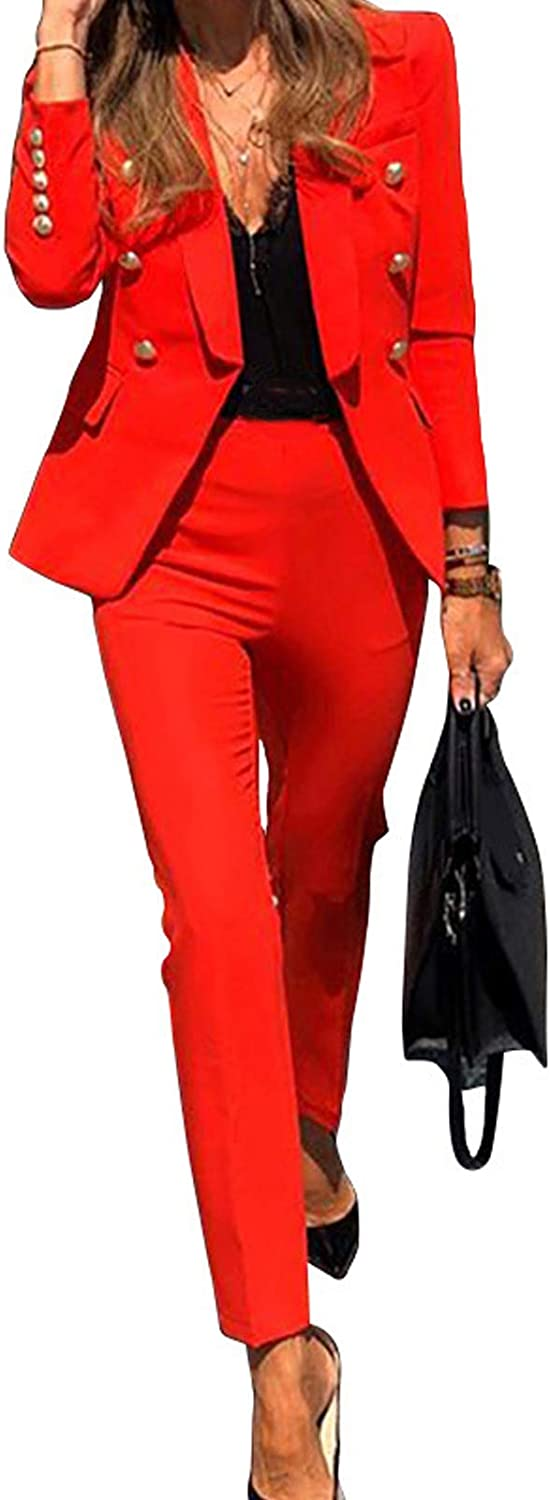 Women's Sexy 2 Piece Office Lady Business Suit Set Slim Fit Blazer Pant for Work