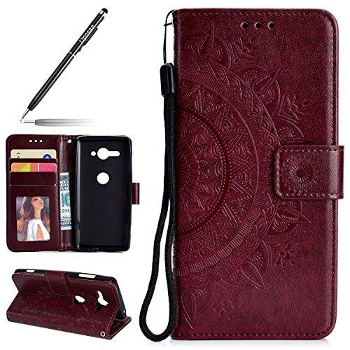 Uposao Kompatibel mit Sony Xperia XZ2 Compact Handytasche Mandala Blumen Muster Handy Hüllen Flip Hülle Cover Schutzhülle Ledertasche Wallet Brieftasche Lederhülle Etui Bookstyle Klapphülle,Braun