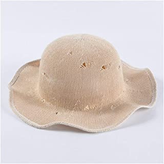 QinMei Zhou Spring and Summer hat Ladies Students Fresh hat Cute Wavy Side Straw hat Sunscreen Fisherman hat Visor Sun hat (Color : Beige)