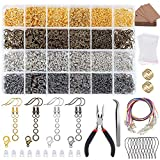 BNK 4100Pcs Earring Making Kit with Jump Rings, Clasps,Earring Back, Earring Hooks, Earring Cards Holder, Pliers, Tweezers for Jewelry Making Supplies and Necklace Repair Starter