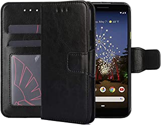Pixel 3A XL Case,Pixel 3aXL Wallet Case,CH-IC PU Leather Folding Flip Shockproof Protective Cell Shell with Kickstand Function,ID Credit Card Slots,Magnetic Closure for Google Pixel 3a XL 2019 (Black)