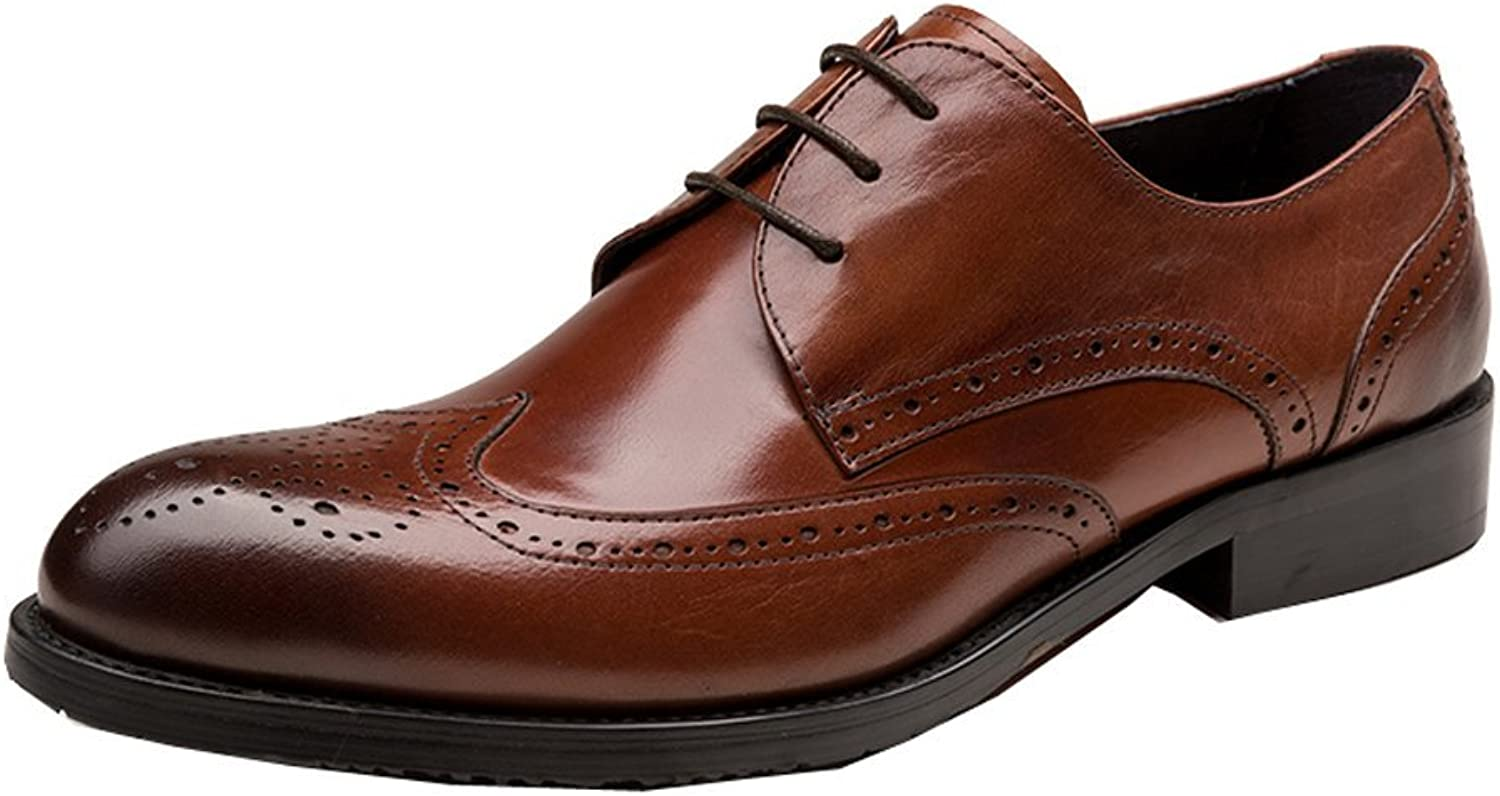 UNbox Mens Leather Lace Up Wedding Brogue shoes Oxfords