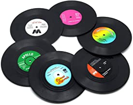 Unilive Retro Record Disk Design Drink Vinyl Coasters Non-slip Cup Bottle Wine Glass Mats,Soft Silicone Drink Coasters Holder - 6PCS