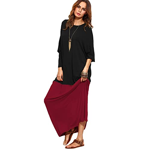 15f2b055655584 Verdusa Women s Color Block Long Sleeve Casual Loose Oversized Maxi Dress