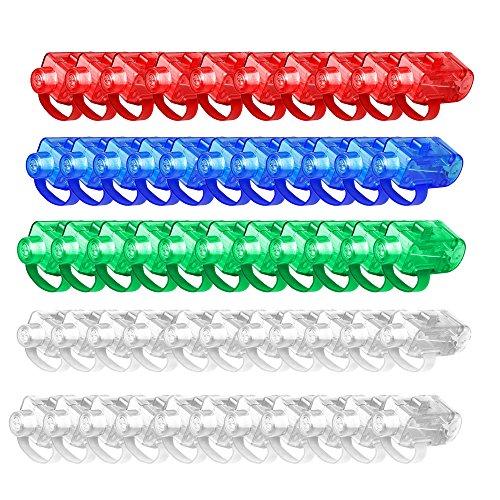 50pcs LED Finger Licht, FLYING_WE Super helle LED-Finger-Lichtstrahlen, Leuchten Sie Toys Party-Bevorzugungs-Versorgungsmaterialien.(Farbige Farbe)