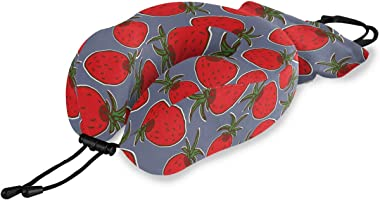 ATONO Cute Red Strawberries U-Shaped Neck Pillow Memory Foam Ultra Soft Comfortable & Lightweight for Travel Airplane Train Car Bus Office Home Head Support