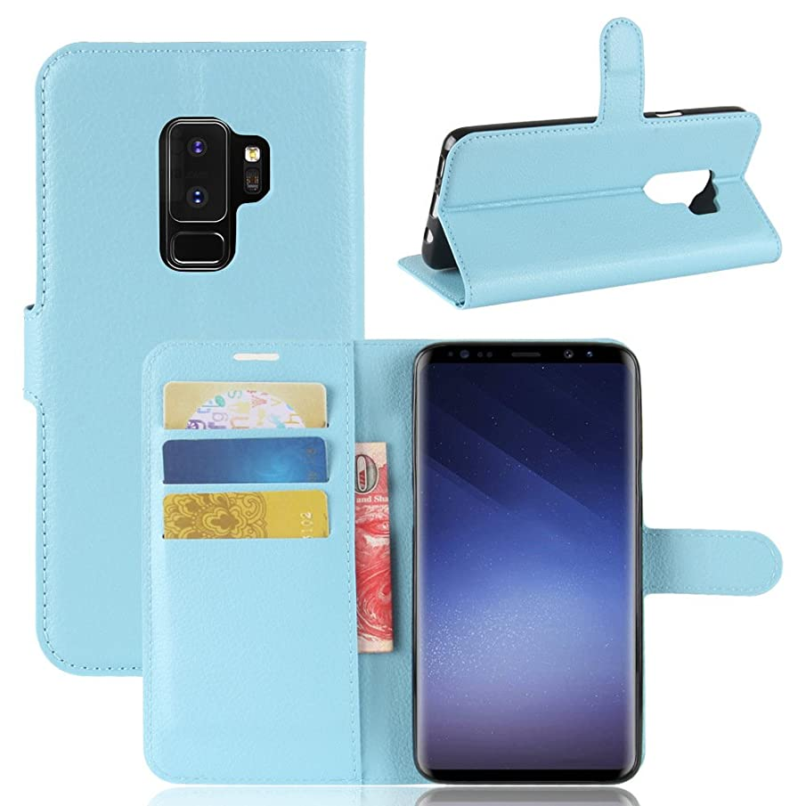 Samsung Galaxy S9 Plus Case,MYLB Litchi Skin PU Leather [Wallet Flip Cover] [Card Holder] Stand Magnetic Folio Case for Samsung Galaxy S9 Plus Smartphone (Blue)