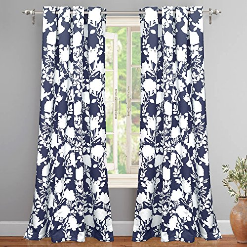 DriftAway Floral Delight Botanic Pattern Room Darkening Thermal Insulated Grommet Unlined Window Curtains Set of 2 Panels Each 52 Inch by 84 Inch Navy