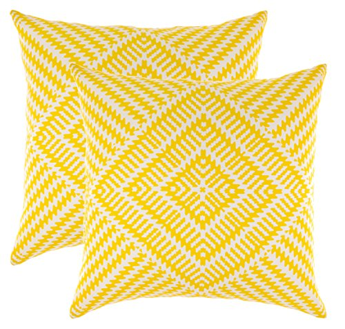 Pack de 2 cojines amarillos decorativos con efecto caleidoscopio