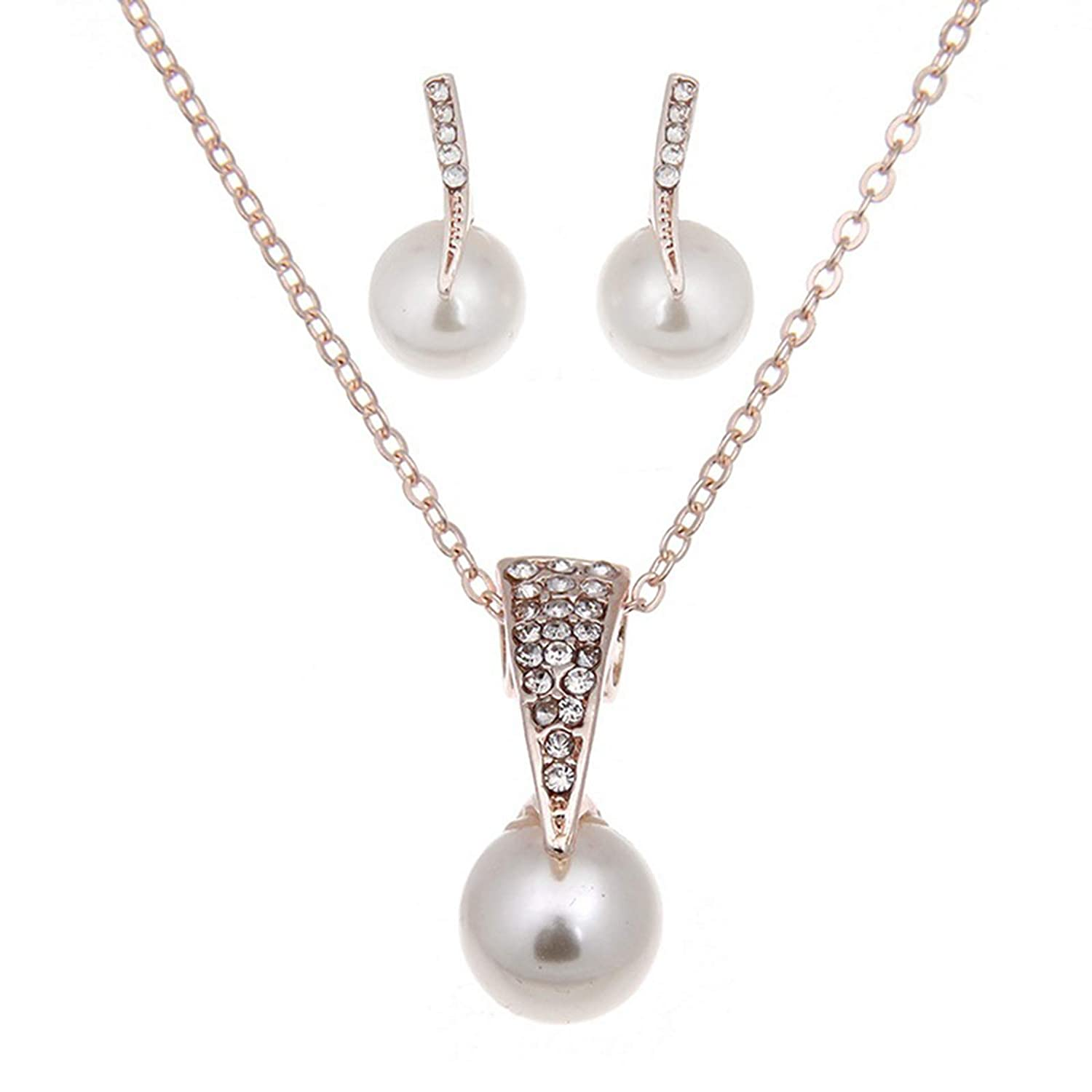 Sttiafay Pearl Pendant Choker Necklace Ball Pearl Stud Earrings Gorgeous Rhinestone Ear Rings Drop Dangle Lariat Necklace 2Pcs Jewelry Set for Women and Girls
