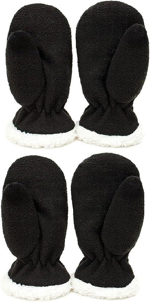 Toddler Mittens Kids Winter Warm Polar Fleece Gloves Snow Mittens for Girls Boys, 2 Pairs