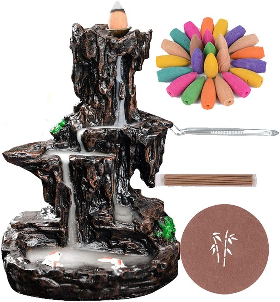 SOYO Backflow Waterfall Incense Burner Mountain River Incense Holder with 120 Backflow Incense Cones + 30 Incense Sticks + 1 Tweezer, Aromatherapy Ornamental for Home Office Yoga