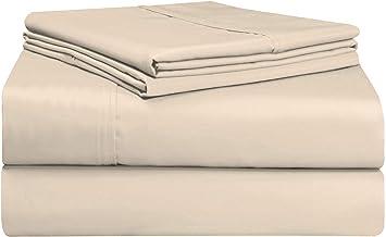 Pizuna 400 Thread Count Cotton Bedsheet Queen Set Beige, Soft Luxurious Satin 100% Long Staple Cotton King Size Bedding Se...