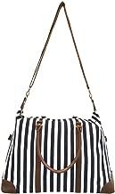 Women's Striped Weekender Bag, Black Travel Tote, Duffle Bag, Overnight Bag