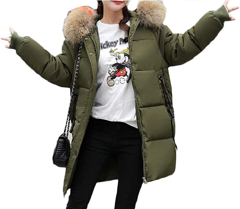 Desolateness Women Fashion Parka Jacket Faux Fur Hoodie Military Safari Utility Coat