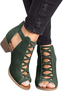 Ruanyu Peep Toe Ankle Boots Hollow Out Chunky Block Heel Cutout Ankle Strap Booties