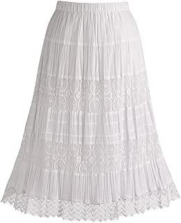 Women's White Peasant Skirt - Cotton Lace 26