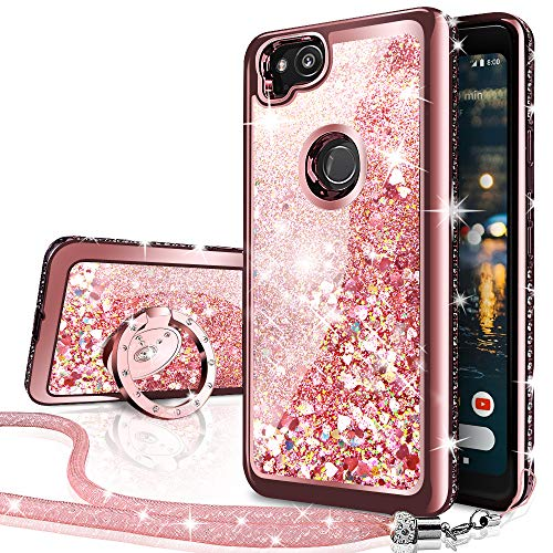 Silverback Google Pixel 2 XL Case, Moving Liquid Holographic Sparkle Glitter Case with Kickstand, Bling Diamond Rhinestone Bumper W/Ring Slim Google Pixel 2 XL Case for Girls Women-Rose Gold